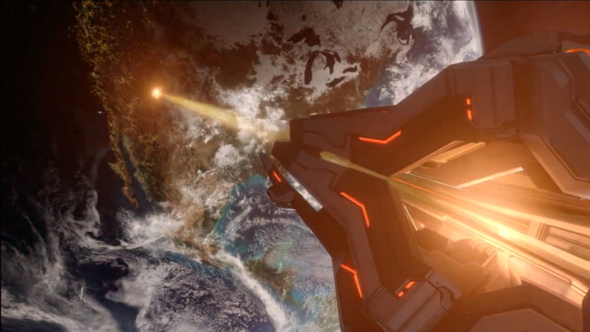 Didact's ship and the Orbital Defense Grid. | Halo ...